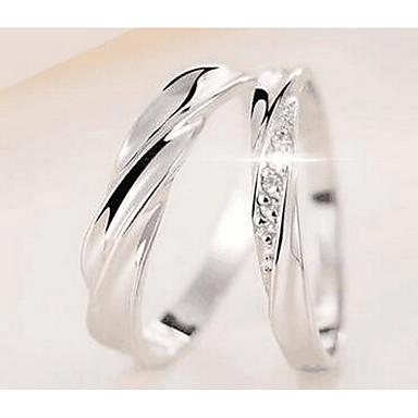 للرجال للمرأة خواتم الزوجين مجوهرات أساسي دائرة فيرميل سبيكة معدنية Round Shape مجوهرات من أجل عيد ميلاد لباس يومي الفالنتين