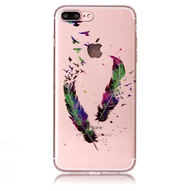hoesje Voor Apple iPhone 7 Plus iPhone 7 IMD Patroon Achterkant Glitterglans Veren Zacht TPU voor iPhone 7 Plus iPhone 7 iPhone 6s Plus