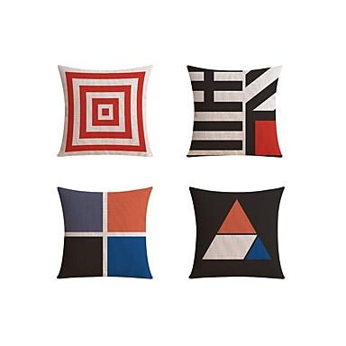4.0 Stück Leinen Kissenbezug Sofakissen Reisekissen Körperkissen Bettkissen, Geometrisch Einfarbig Modisch Geometrisch Abstrakt Art déco
