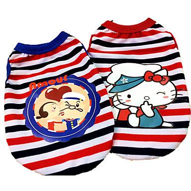 كلب T-skjorte ملابس الكلاب كاجوال/يومي كرتون أحمر أزرق