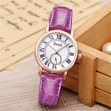 Dames Modieus horloge Unieke creatieve horloge Kwarts Waterbestendig Leer Band Bruin Roze Paars