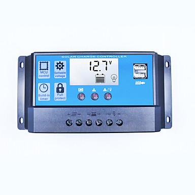 Solar-Laderegler 30a Dual-USB 5V-Ausgang 12v 24v Auto große LCD-Display Solarpanel Controller Batterie Ladung Regler