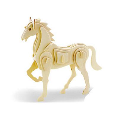 3D-puzzels Legpuzzel Houten modellen Dinosaurus Vliegtuig Paard Dier 3D DHZ Puinen Hout Klassiek Unisex Geschenk