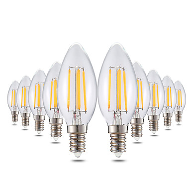 YWXLIGHT® 10 stuks 4W 300-400lm E14 LED-kaarslampen C35 4 LED-kralen COB Dimbaar Decoratief Warm wit 220-240V