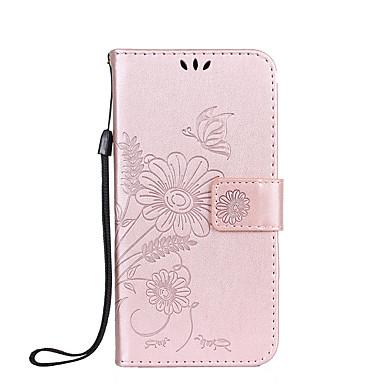 Maska Pentru Huawei P9 Lite Huawei Titluar Card Portofel Cu Stand Întoarce Embosat Carcasă Telefon Fluture Floare Greu PU piele pentru