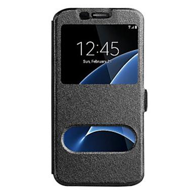 Maska Pentru Samsung Galaxy cu Fereastră Carcasă Telefon Culoare solidă Greu PU piele pentru Note 5 Note 4 Note 3 Note Edge