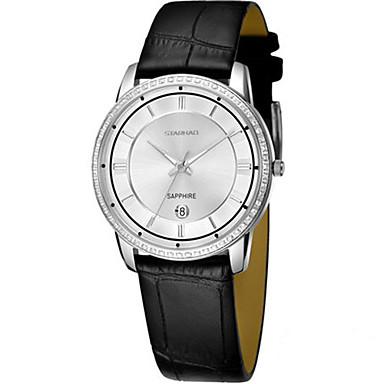 Dames Modieus horloge Kwarts Echt leer Band Zwart Bruin