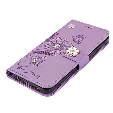 hoesje Voor Samsung Galaxy S8 Plus S8 Portemonnee Kaarthouder met standaard Flip Magnetisch DHZ Volledige behuizing Vlinder Bloem Hard