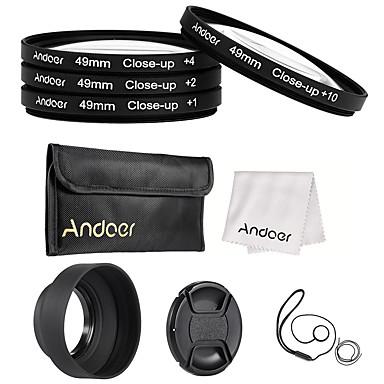 Andoer 49mm close-up macro set de lentile filtru cu lentile accesorii lentilă lentilă pliantă capota lentilă cap cap lentilă capac suport