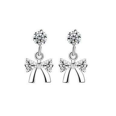 Damen Schleifenform Kubikzirkonia Ohrstecker - Euramerican Modisch Simple Style Silber Schleifenform Ohrringe Für Alltag Normal