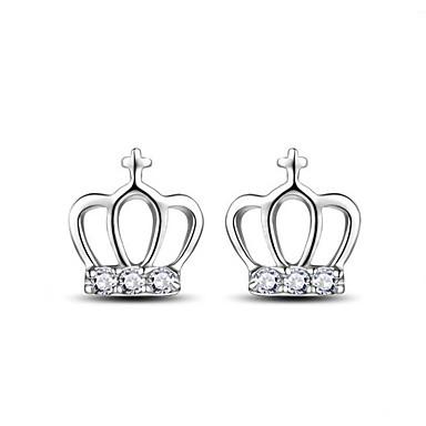 للمرأة أقراط الزر حجر الراين موضة أسلوب بسيط سبيكة Crown Shape مجوهرات من أجل فضفاض