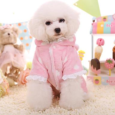 Hond Hoodies Hondenkleding Houd Warm Kant Blauw Roze