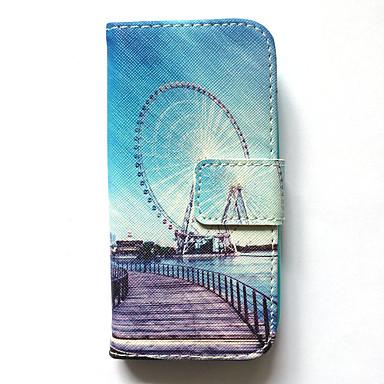 Fall für Samsung Galaxy S4 Mini Fall Abdeckung Kartenhalter Brieftasche mit Standfuß Muster Ganzkörper Fall Stadtansicht hart PU Leder