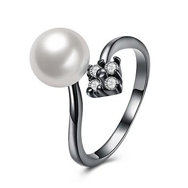 Dames Ring Imitatie Parel Zirkonia Gepersonaliseerde Luxe Meetkundig Cirkelvormig ontwerp Uniek ontwerp Tatoeagestijl Klassiek Vintage