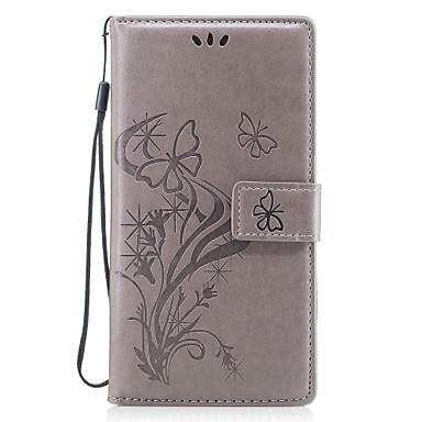 hoesje Voor Huawei Kaarthouder Portemonnee met standaard Flip Magnetisch Patroon Reliëfopdruk Volledig hoesje Vlinder Bloem Hard PU-nahka
