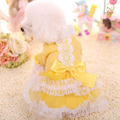 Hond Jurken Hondenkleding Prinses Geel Roze Katoen/linnen mengeling Bont Kostuum Voor huisdieren Houd Warm
