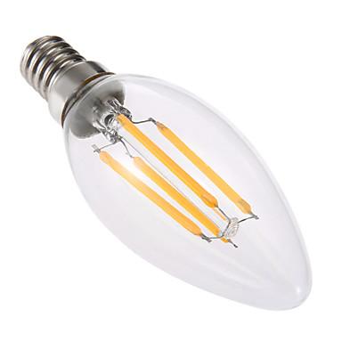 4W E14 LED-kaarslampen C35 4 leds COB Dimbaar Decoratief Warm wit 300-400lm 2800-3200K AC 220-240V