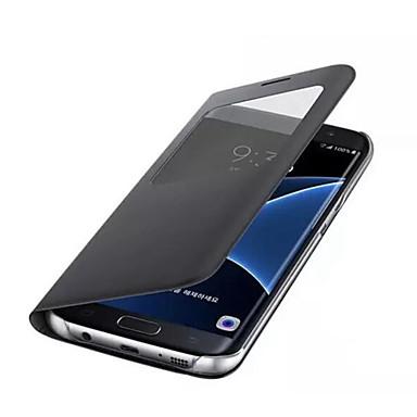 Недорогие Чехлы и кейсы для Galaxy S6-Кейс для Назначение SSamsung Galaxy S8 Plus / S8 / S7 edge с окошком Чехол Однотонный Твердый Кожа PU