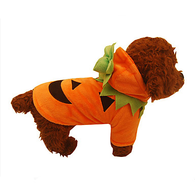 Hond kostuums Kerstmis Hondenkleding Effen Oranje Pluche stof Kostuum Voor huisdieren Cosplay Halloween