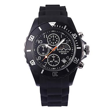 Heren Modieus horloge Kwarts Silicone Band Zwart Orange