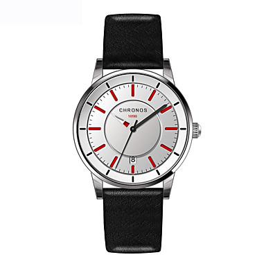 Heren Dress horloge Modieus horloge Kwarts Echt leer Band Vrijetijdsschoenen Zwart