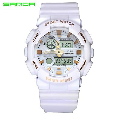 SANDA Heren Polshorloge / Sporthorloge Japans Alarm / Waterbestendig / Dubbele tijdzones Rubber Band Amulet Zwart / Wit