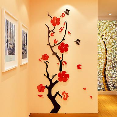 Bloemenmotief/Botanisch Romantiek Muurstickers 3D Muurstickers Kristallen Muurstickers Decoratieve Muurstickers 3D,Acryl Materiaal