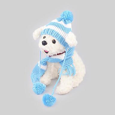 كلب قبعات و شرايط شعر الكلب، وشاح ملابس الكلاب كاجوال/يومي الدفء مخطط أزرق زهري كوستيوم للحيوانات الأليفة