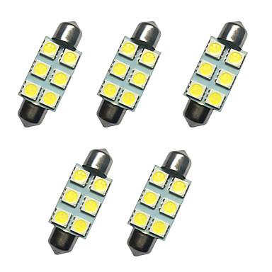 5pcs auto festoon lampă dome 39mm 1w 6smd 5050 cip alb 80-100lm 6500-7000k dc12v lectură lumina plăcuței de înmatriculare lumini