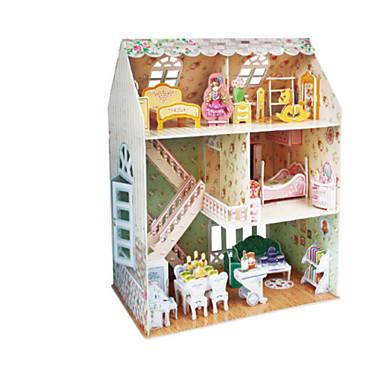 قطع تركيب3D تركيب بيت اللعبة نموذج الورق دمية فتاة مجموعات البناء بناء مشهور معمارية 3D اصنع بنفسك الخشب الطبيعي 6 سنوات فما فوق