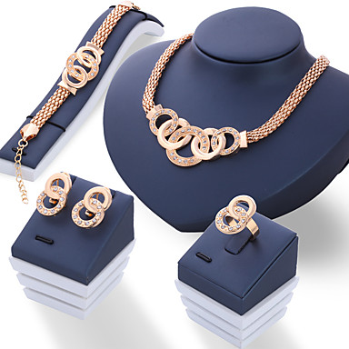 للمرأة أقراط الزر أسورة عقد حجر الراين سبيكة Circle Shape موضة زفاف مجوهرات