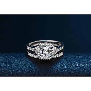Pentru femei Verighete Zirconiu Cubic Modă Elegant Placat cu platină Rotund Bijuterii Nuntă Logodnă Zilnic Ceremonie