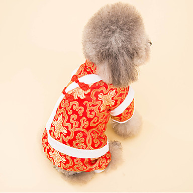 Hond Jassen Hondenkleding Katoen Dons Winter Lente/Herfst Nieuwjaar Flora / Botanisch Wit Zwart Voor huisdieren