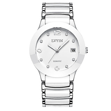 Dames Modieus horloge Kwarts Waterbestendig Keramiek Band Wit Zilver Goud