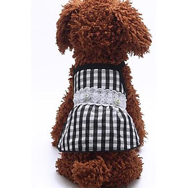 Câine Rochii Îmbrăcăminte Câini Casul/Zilnic Tartan/Carouri Negru Gri Rosu Albastru Costume Pentru animale de companie