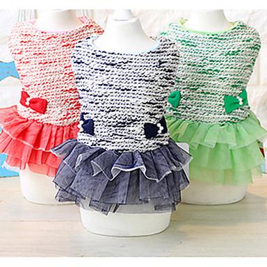 كلب الفساتين ملابس الكلاب كاجوال/يومي أميرة أحمر أخضر أزرق
