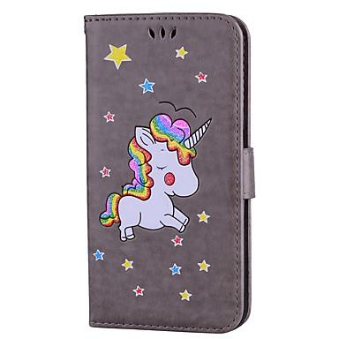 Недорогие Чехлы и кейсы для Galaxy S6-Кейс для Назначение SSamsung Galaxy S8 Plus / S8 / S7 edge Бумажник для карт / со стендом / Флип Чехол единорогом / Сияние и блеск Твердый Кожа PU