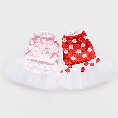 كلب الفساتين ملابس الكلاب كاجوال/يومي الأزهار/النباتية أحمر زهري