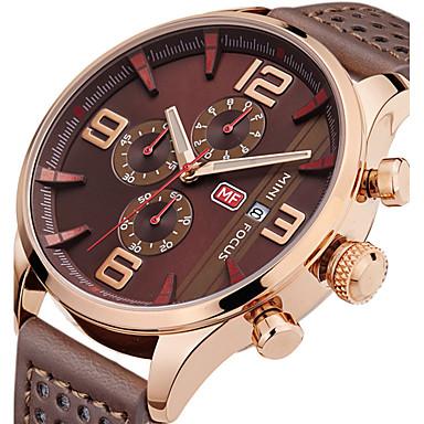 Bărbați Ceas de Mână Unic Creative ceas Ceas Casual Ceas Sport Ceas La Modă Quartz Calendar Cronograf Cronometru Piele Autentică Bandă