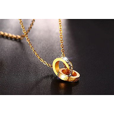 Pentru femei Zirconiu Cubic Coliere cu Pandativ - Iubire Elegant Cute Stil Circle Shape Auriu Coliere Pentru Nuntă Logodnă Ceremonie