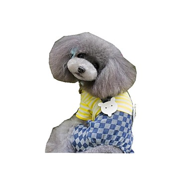Hund Overall Hundekleidung Lässig/Alltäglich Streifen Gelb Blau Kostüm Für Haustiere