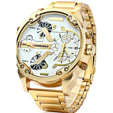 Χαμηλού Κόστους Ανδρικά ρολόγια-Ανδρικά Στρατιωτικό Ρολόι χρυσό ρολόι Παρακολουθήστε την αεροπορία Ανοξείδωτο Ατσάλι Μαύρο / Χρυσό Ημερολόγιο Δημιουργικό Διπλές Ζώνες Ώρας Αναλογικό Φυλαχτό Πολυτέλεια Καθημερινό Μοντέρνα -