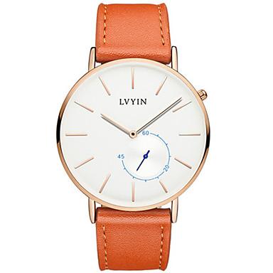 Heren Modieus horloge Kwarts Waterbestendig PU Band Zwart Orange