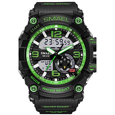 זול שעוני גברים-SMAEL בגדי ריקוד גברים שעוני ספורט שעון יד שעון דיגיטלי דיגיטלי גומי שחור 30 m עמיד במים Alarm LED אנלוגי-דיגיטלי להסוות אופנתי - כחול בהיר חאקי הסוואה ירוקה שנתיים חיי סוללה / זורח / אזור זמן כפול