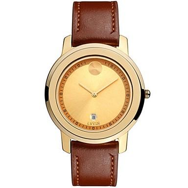 Heren Modieus horloge Kwarts Leer Band Zwart Wit Bruin