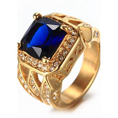 ieftine Inele-Bărbați Safir Solitaire Emerald Cut Inel sigiliu Ștras Oțel titan Lux Vintage Modă Elegant Bling bling Inele la Modă Bijuterii Alb / Rosu / Albastru Pentru Nuntă Zi de Naștere Cadou Zilnic Mascarad