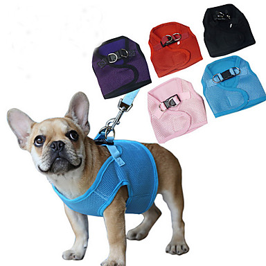 Dog Harness Adjustable/Retractable / Breathable Solid Red / Black / Blue / Pink / Purple Mesh