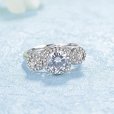 Dames Bandringen Zirkonia Modieus Elegant Platina Verguld Gesimuleerde diamant Rond Sieraden Bruiloft Verloving Ceremonie