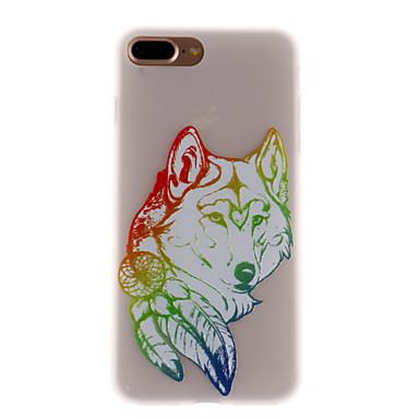 Fall für iphone 7 plus 7 Bucht geprägtes lichtdurchlässiges Muster rückseitiges Abdeckungsfall Wolf weiches tpu für 6s plus 6s 6 se 5s 5