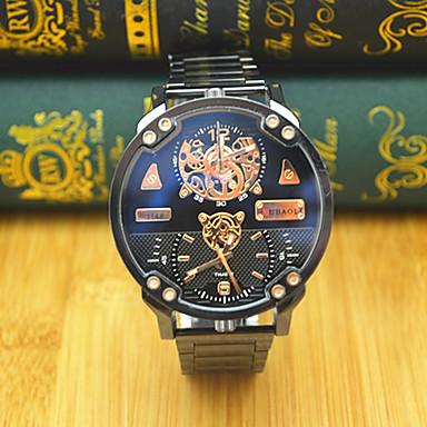 Bărbați Ceas Sport Ceas La Modă Ceas de Mână Chineză Quartz Zone Duale de Timp  Mare Dial Oțel inoxidabil Bandă Casual Cool Negru